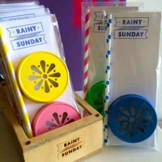 Rainy Sunday Mason Jar Lids and Straw Packets