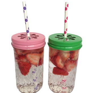 Rainy Sunday 340ml Ball Mason Drinking Jars in Peppermint and Pink