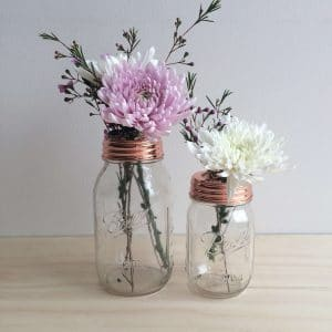 Copper Flower Mason Jars by Rainy Sunday