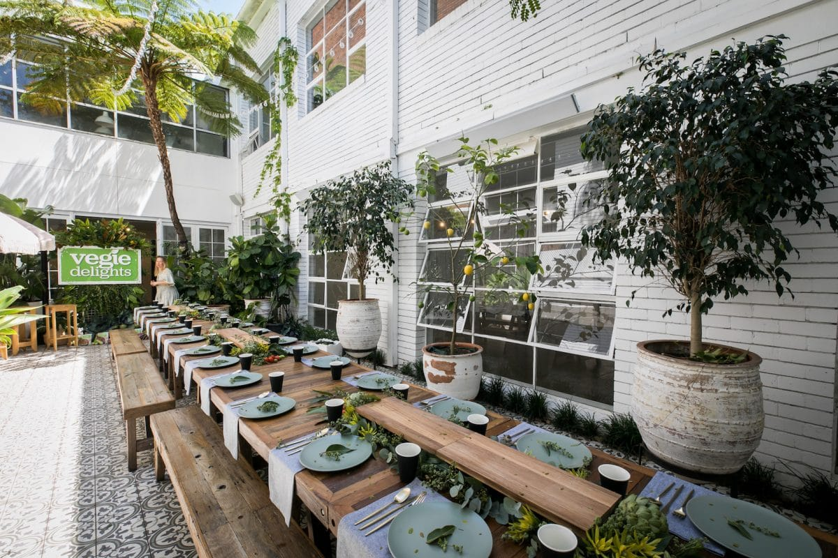 Outdoor event styling in the courtyard at La Porte Space