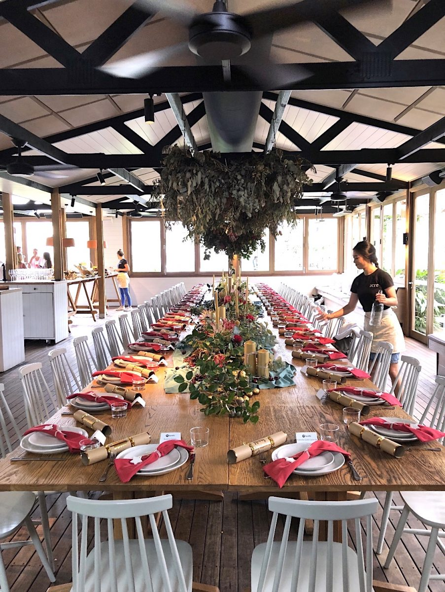Christmas table styling Acre Eatery