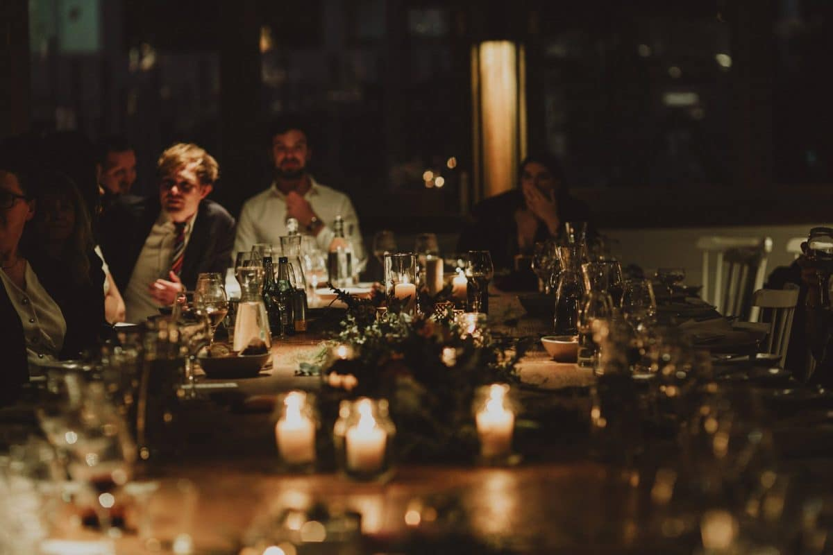 Roantic wedding reception at Acre Eatery styled by wedding stylists Rainy Sunday