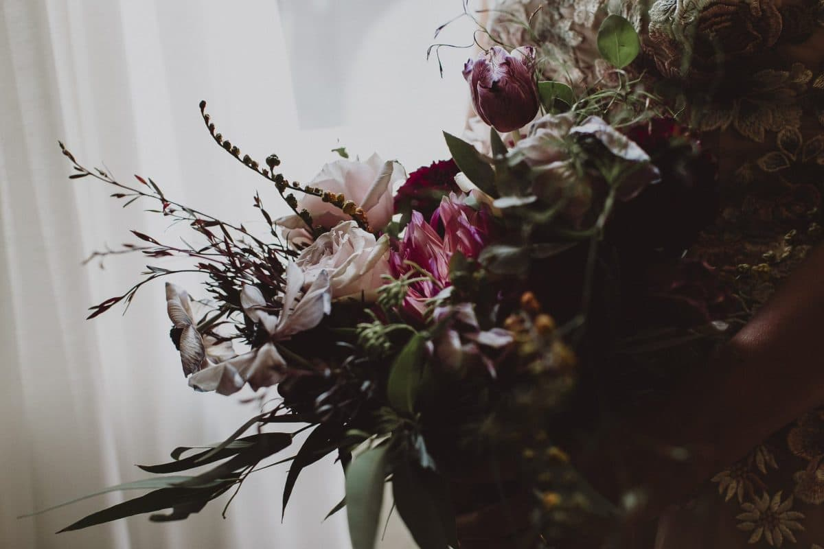 Romantic modern wedding bouquet by floral designer, Rainy Sunday