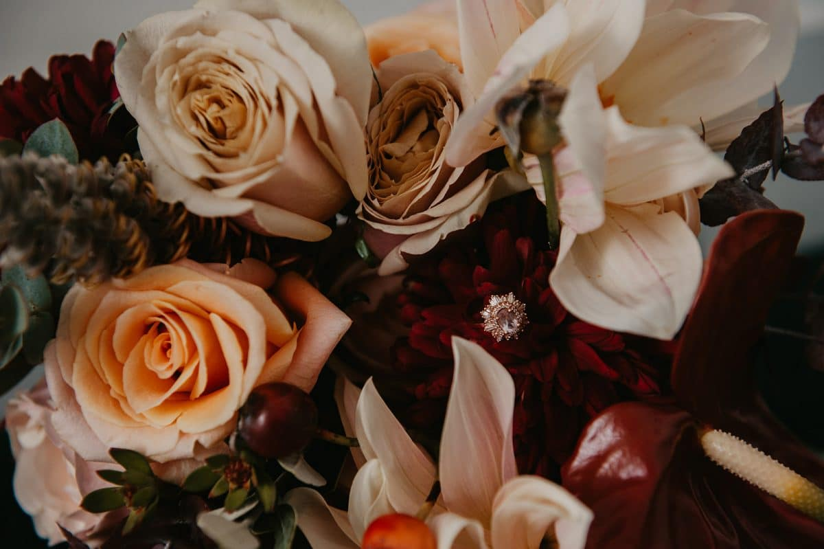 Winter wedding flowers with a rich boho colour palette