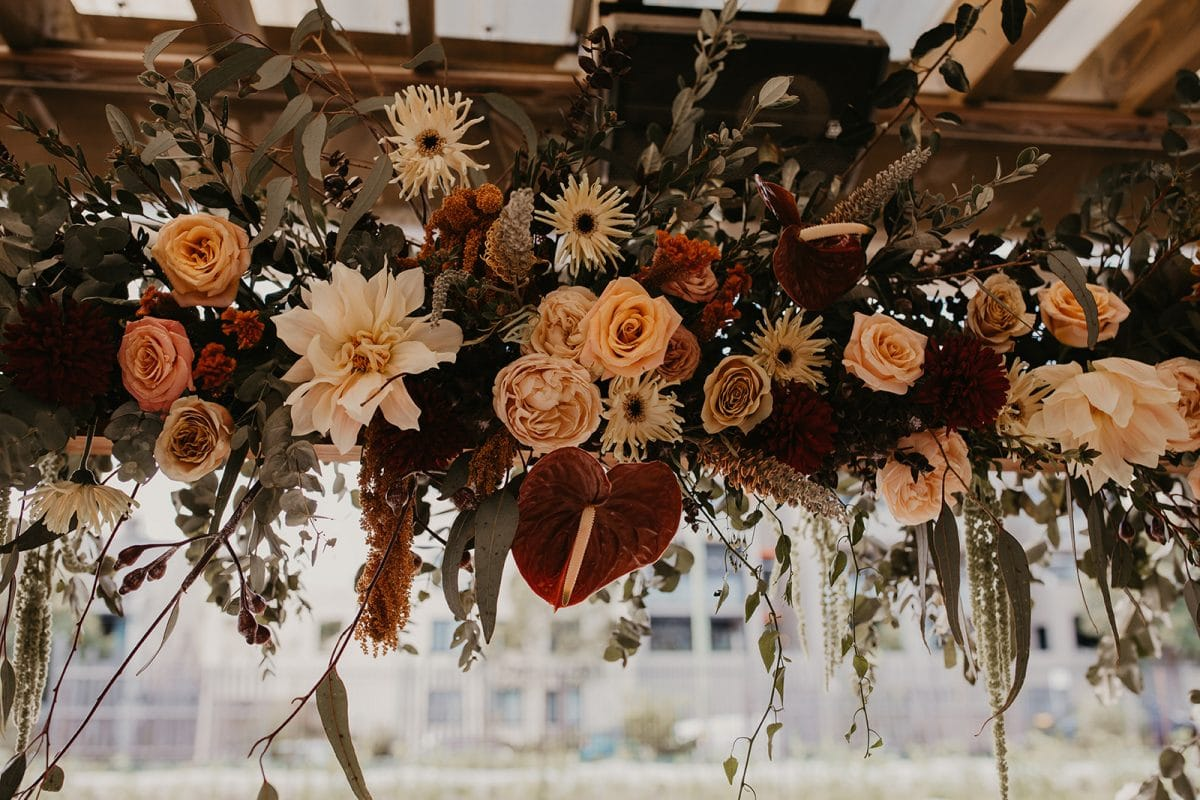 Mondern Hanging Ceremony Flowers by Rainy Sunday at Camperdonw Commons