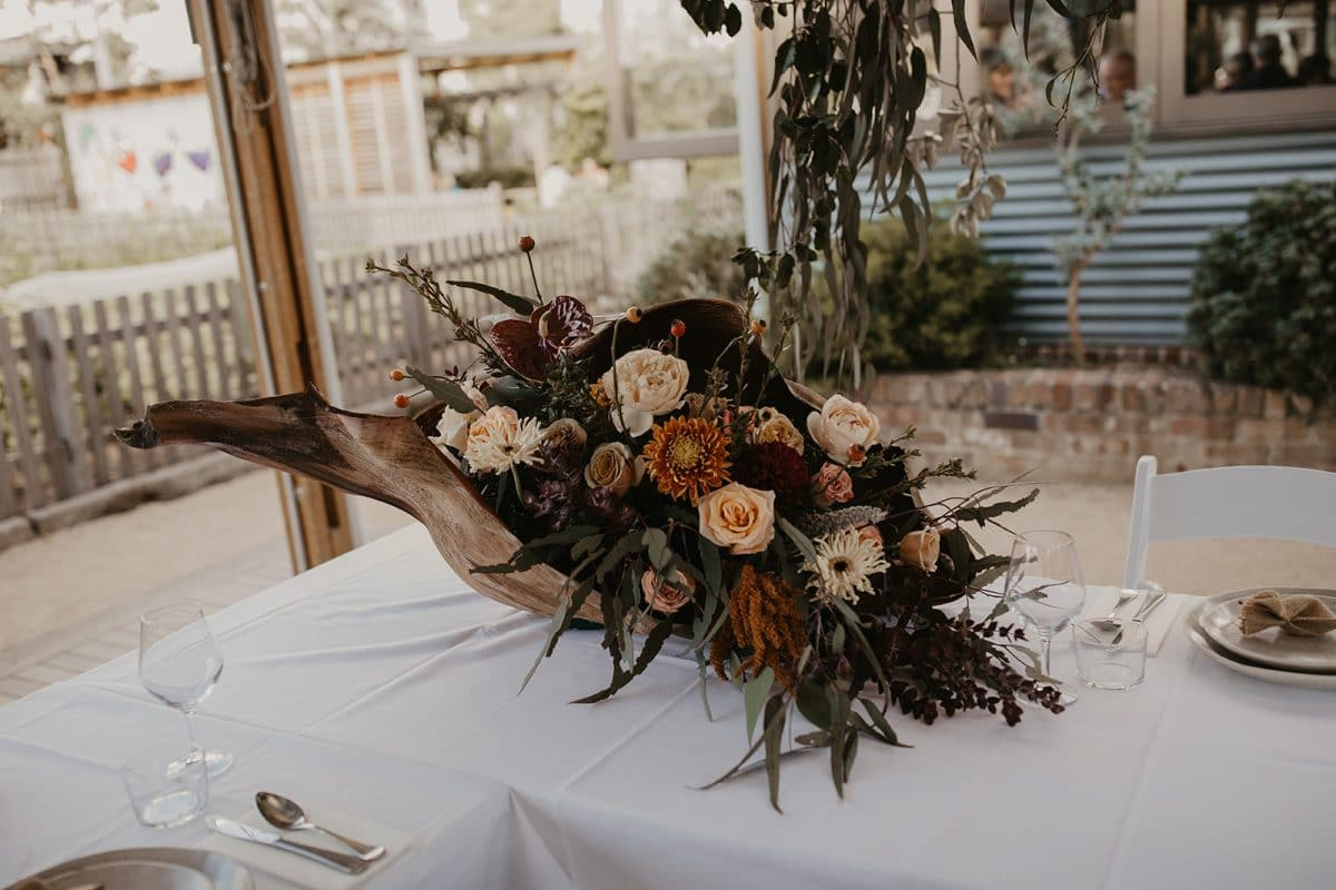 Organic Style Wedding Flowers at Acre Eatery in Sydney