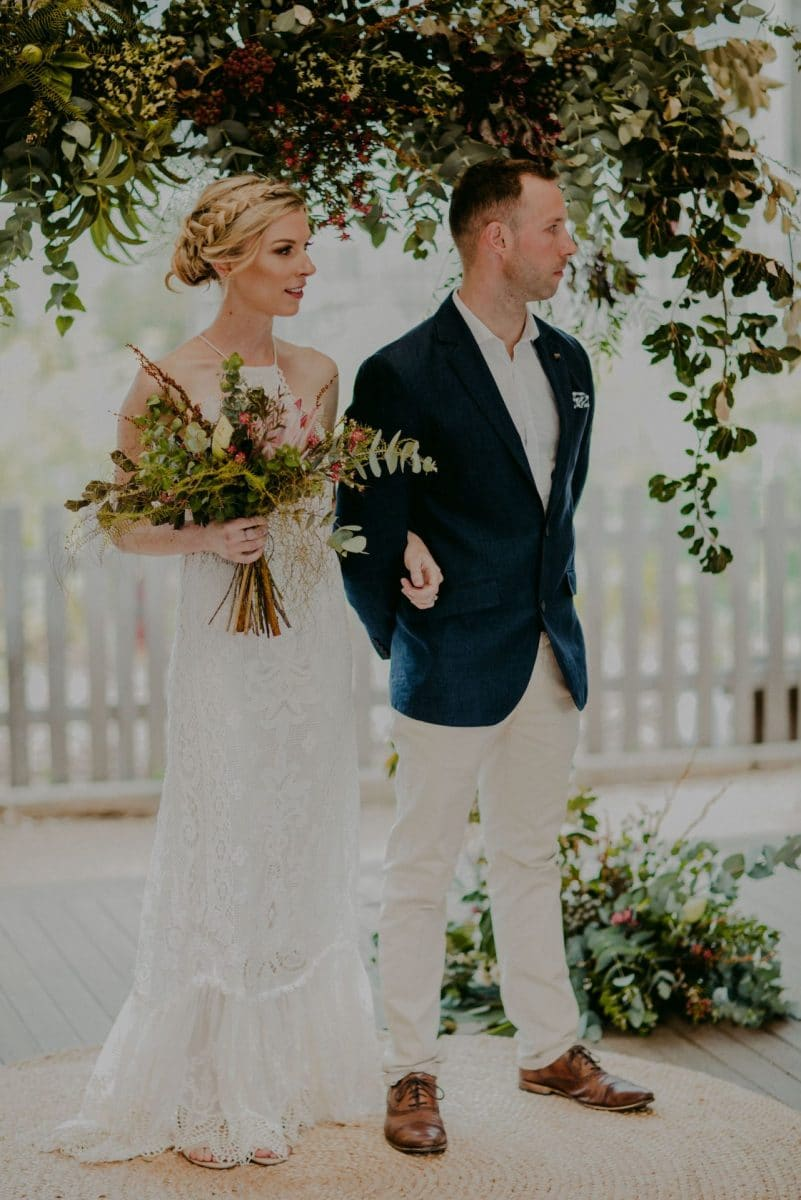 Hanging wedding flowers at Camperdown Commons in Sydney