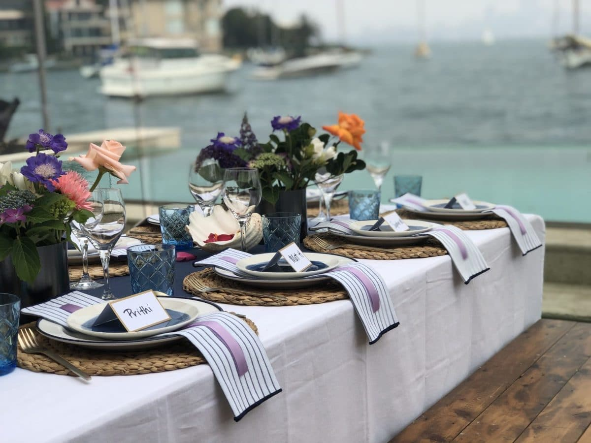 Hamptons table decor hired from Rainy Sunday