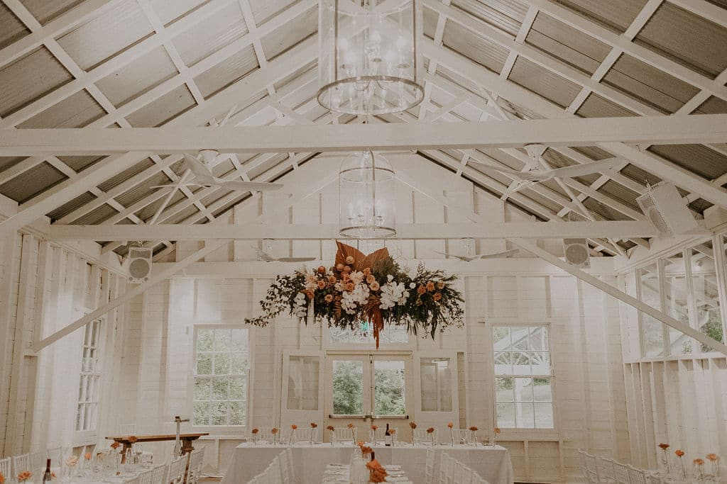 Beautiful hanging wedding flowers at Athol hall by Rainy Sunday